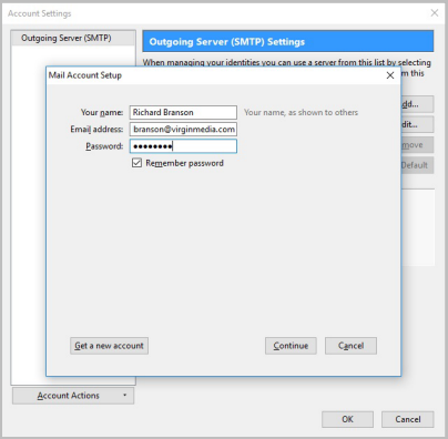 how to change password for email account in thunderbird