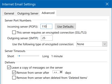 Updating Virgin Media Mail Settings   Microsoft Outlook