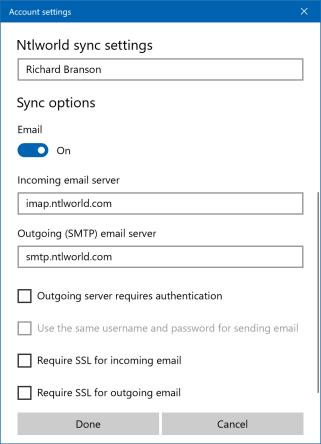 Virgin Media Mail IMAP settings no security