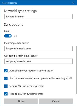 Virgin Media Mail secure IMAP settings
