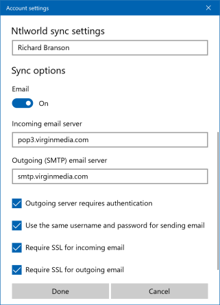 Virgin Media Mail secure POP settings