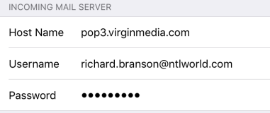 iOS Mail updated POP server settings