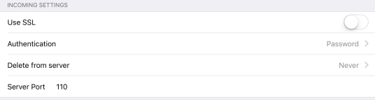 iOS Mail POP server no security
